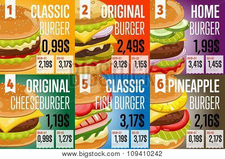 Fast food restaurant menu template vector illustration elements. Set of abstract advertising price tags about fast food meal. Six banners of fast food. Different burgers. Food menu design. Fast food cafe flyer. Fast food menu card.