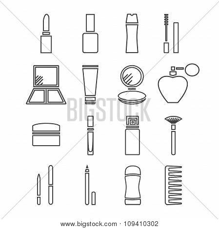 Thin line cosmetics icons
