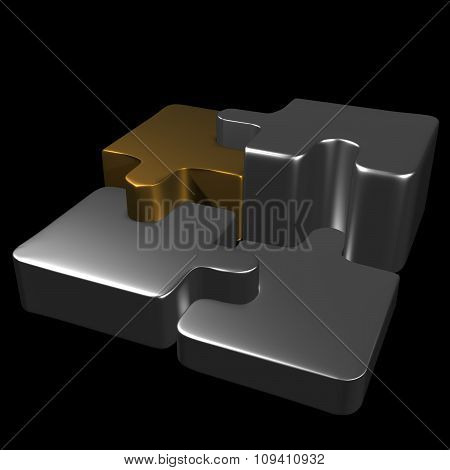 Metal Puzzle Pieces With Black Background