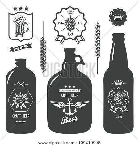 vintage craft beer bottles brewery label sign set