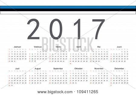 Estonian 2017 Year Vector Calendar