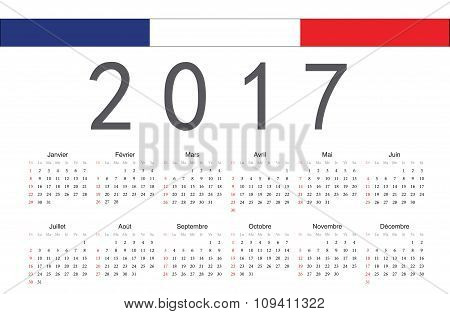 French 2017 Year Vector Calendar