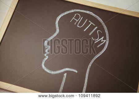 Autism drawn on blackboard with head shot in studio