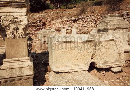 Carved Columns And Walls Falled Down From Greek-roman Empire Time, Ephesus