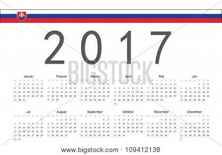 Slovak 2017 Year Vector Calendar