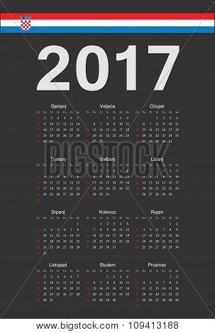Croatian Black 2017 Year Vector Calendar