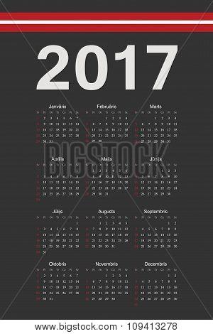 Latvian Black 2017 Year Vector Calendar