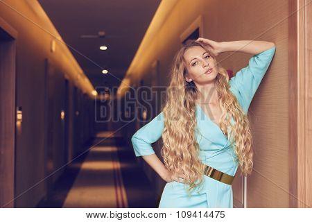 Beautiful Blond Woman In Long Dres