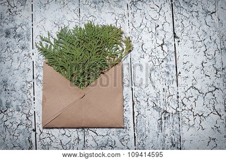 Christmas Fir Tree, Envelope On Wooden Background