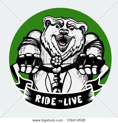 Happy Bear riding a bicycle