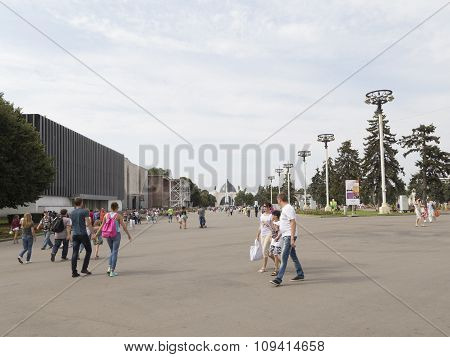 Moscow And People Walk At Enea