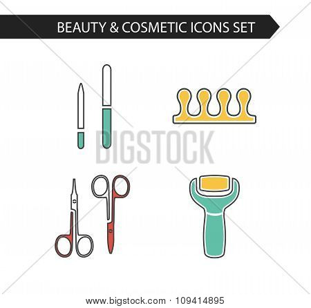 Icons set of pedicure