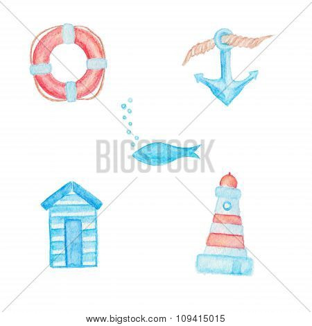Lifebuoy, Anchor, Fish, Beach Changing Room And Lighthouse Drawings