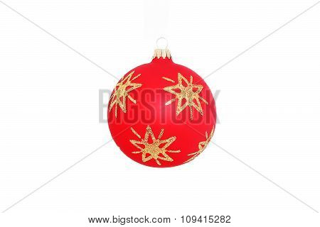 red christmas ball with ornament