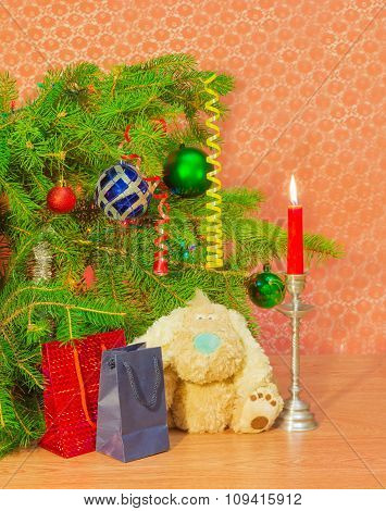 Fragment Of A Decorated Christmas Trees And Gifts To Children