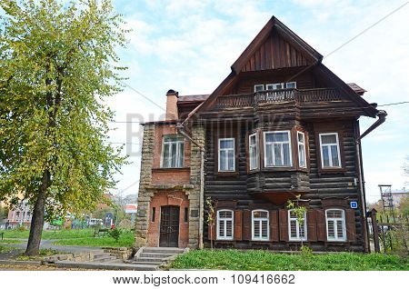 Irkutsk, Russia - Oct.4,2015:Old Log House With A Stone Porch