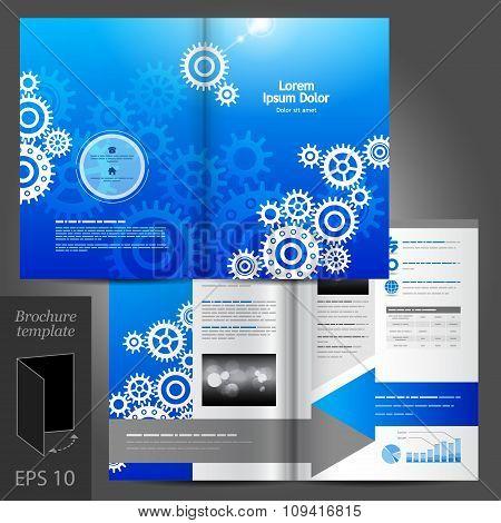 Blue Brochure Template Design With Cogwheels