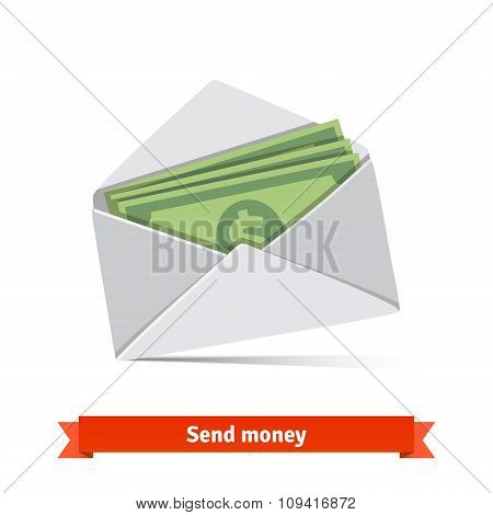 Some dollar bills in white envelope