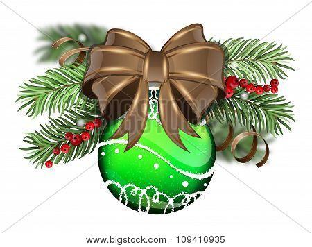 Green Christmas Ball With Brown Bow