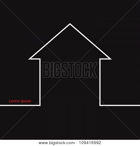 Advertising card with real estate silhouette