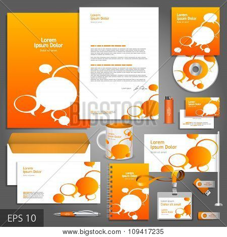 Orange Corporate Identity Template With Text Bubbles