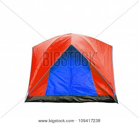 Isolated Blue And Red Dome Tent