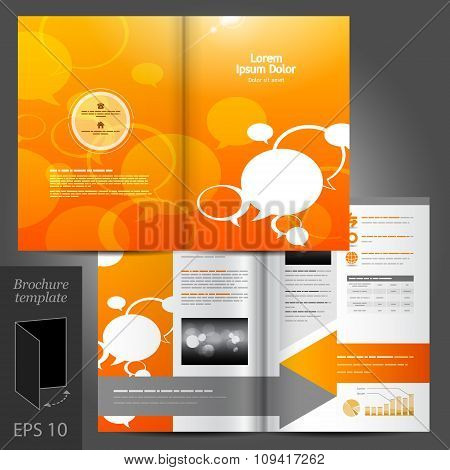 Orange Brochure Template Design With Text Bubbles