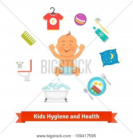 Kids health and hygiene icons. Baby boy