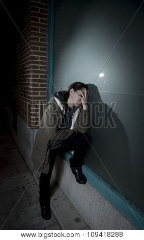Sad Woman Alone Leaning On Street Window At Night Suffering Depression Crying In Pain