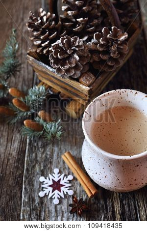 New Year's Mood: Milk Coffee And Pine Cones