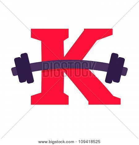 K Letter With Barbell.