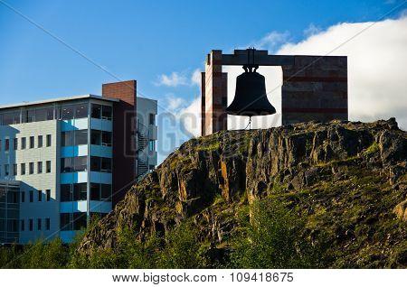Big bell at the entrance to Akureyri university campus