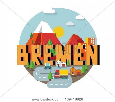 Bremen in Germany is Beautiful city to visit on holiday, vector cartoon illustration