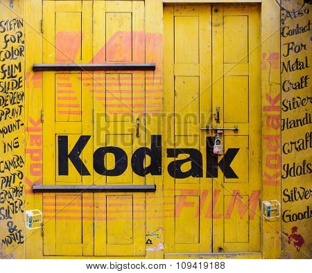 BHAKTAPUR, NEPAL - NOVEMBER 15, 2015: Kodak sign painted on shut photography studio