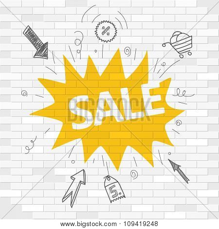 White brick wall and graffiti label. Sale