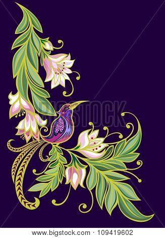 Bird on a branch.Flowers. Natural background.dark