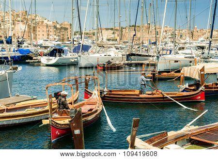 Valletta, Malta - 25 May 2015: many yachts and boats in tha bay near Valletta pot in Malta