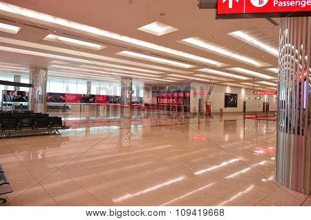 DUBAI, UAE - NOVEMBER 16, 2015: interior of Dubai Airport. Dubai International Airport is the world's busiest airport by international passenger traffic.