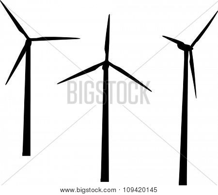 illustration with three wind generators isolated on white background