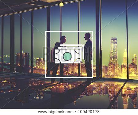 Cash Money Notes Financial Icon Concept