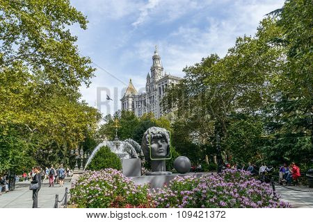 Statue At City Hall Park In Lower Manhattan In New York.