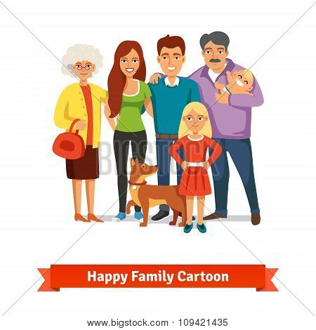 Big family standing together with happy smiles