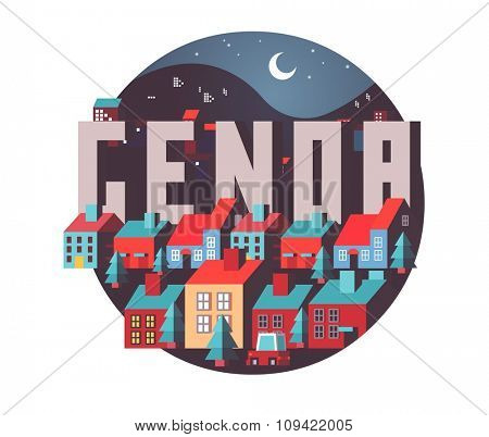 Genoa in italy is Beautiful city to visit on holiday, vector cartoon illustration