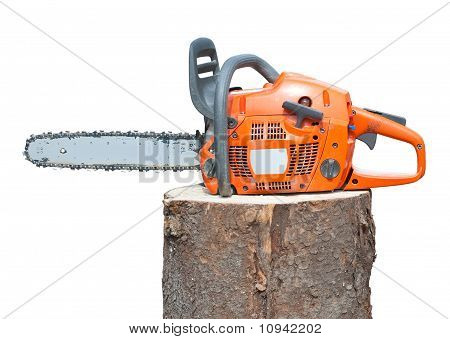 Chain Saw On Log