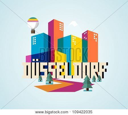 Düsseldorf in germany is Beautiful city to visit on holiday, vector cartoon illustration