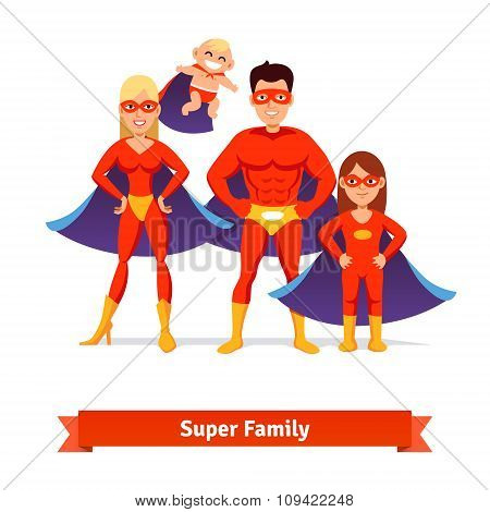 Super family. Father, mother, daughter, baby