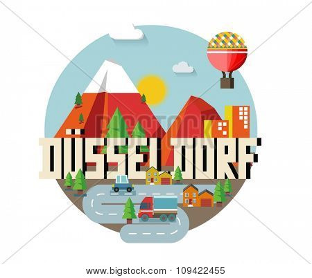Dusseldorf in germany is Beautiful city to visit on holiday, vector cartoon illustration