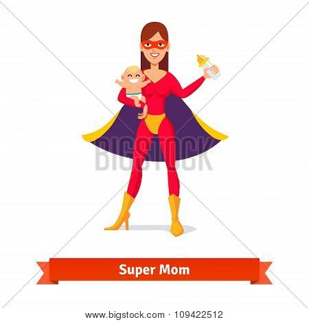 Super mother holding son in her arms