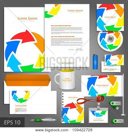 Color Corporate Identity Template With Arrows