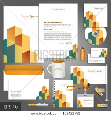 Architectural Corporate Identity Template With Cube Elements
